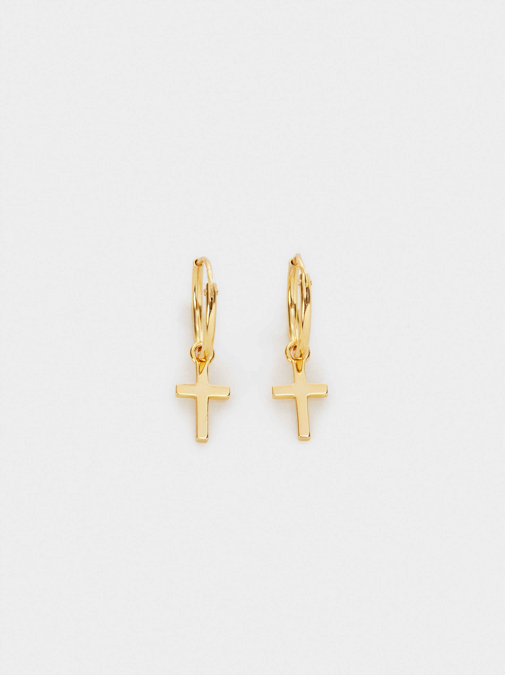 Small 925 Silver Hoop Earrings With Cross, , hi-res