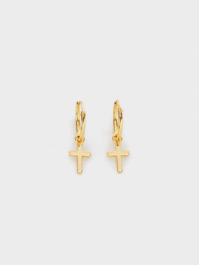Small 925 Silver Hoop Earrings With Cross, Golden, hi-res
