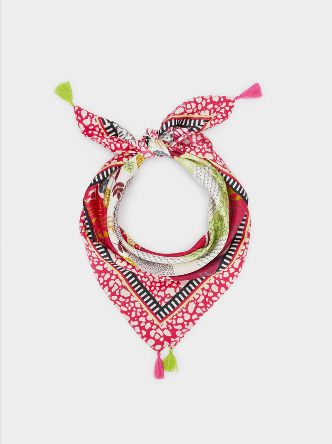Printed Square Neckerchief Made From Recycled Materials, Pink, hi-res