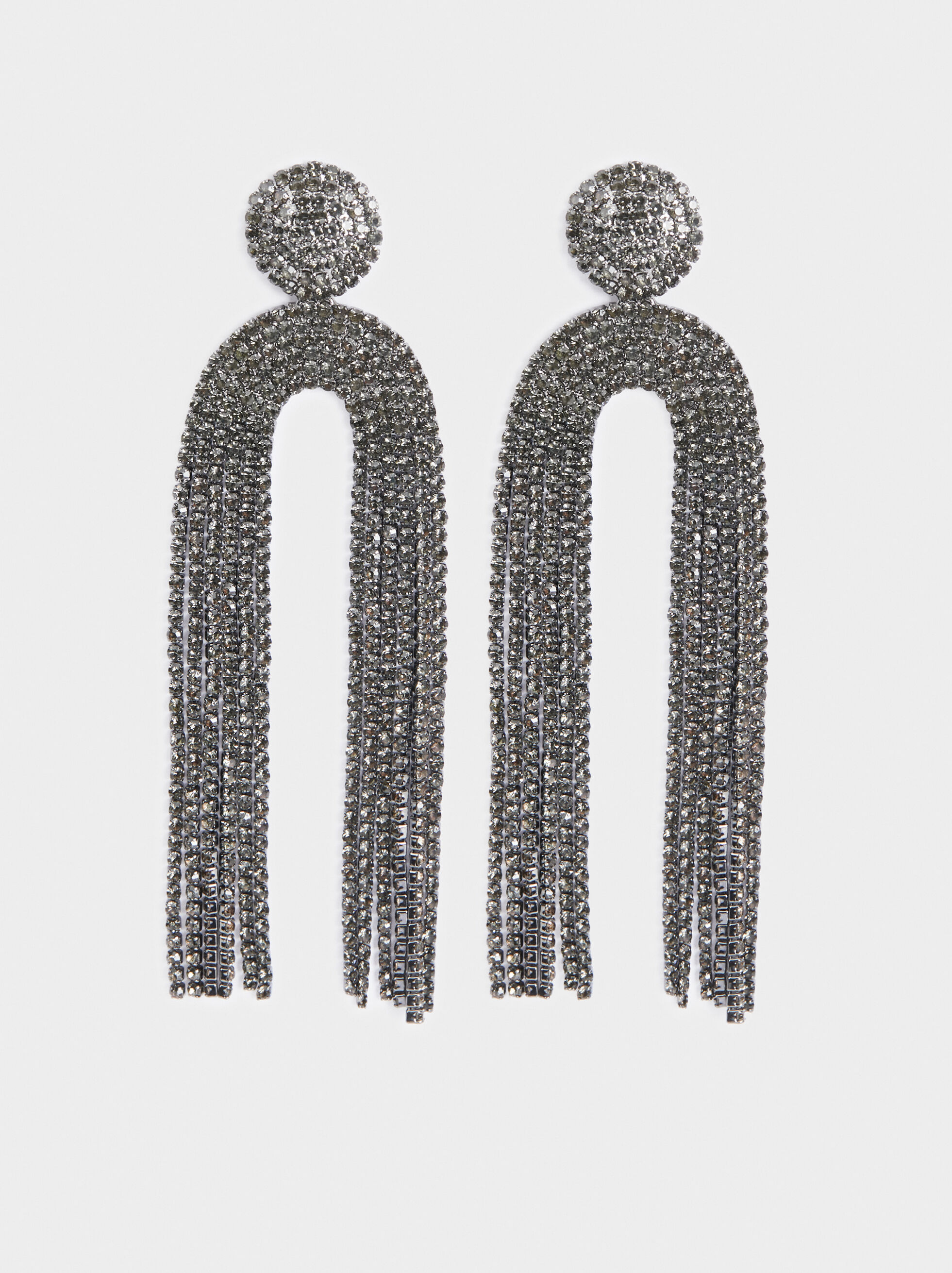 Botanic Party Long Earrings, Black, hi-res