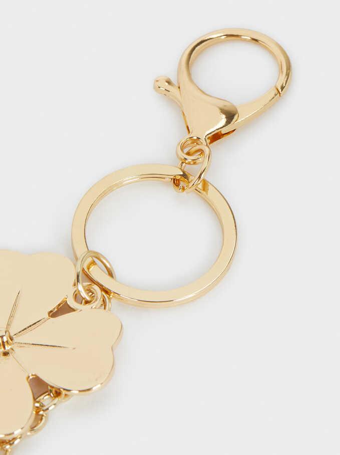 Gold Heart And Shamrock Charm, Golden, hi-res