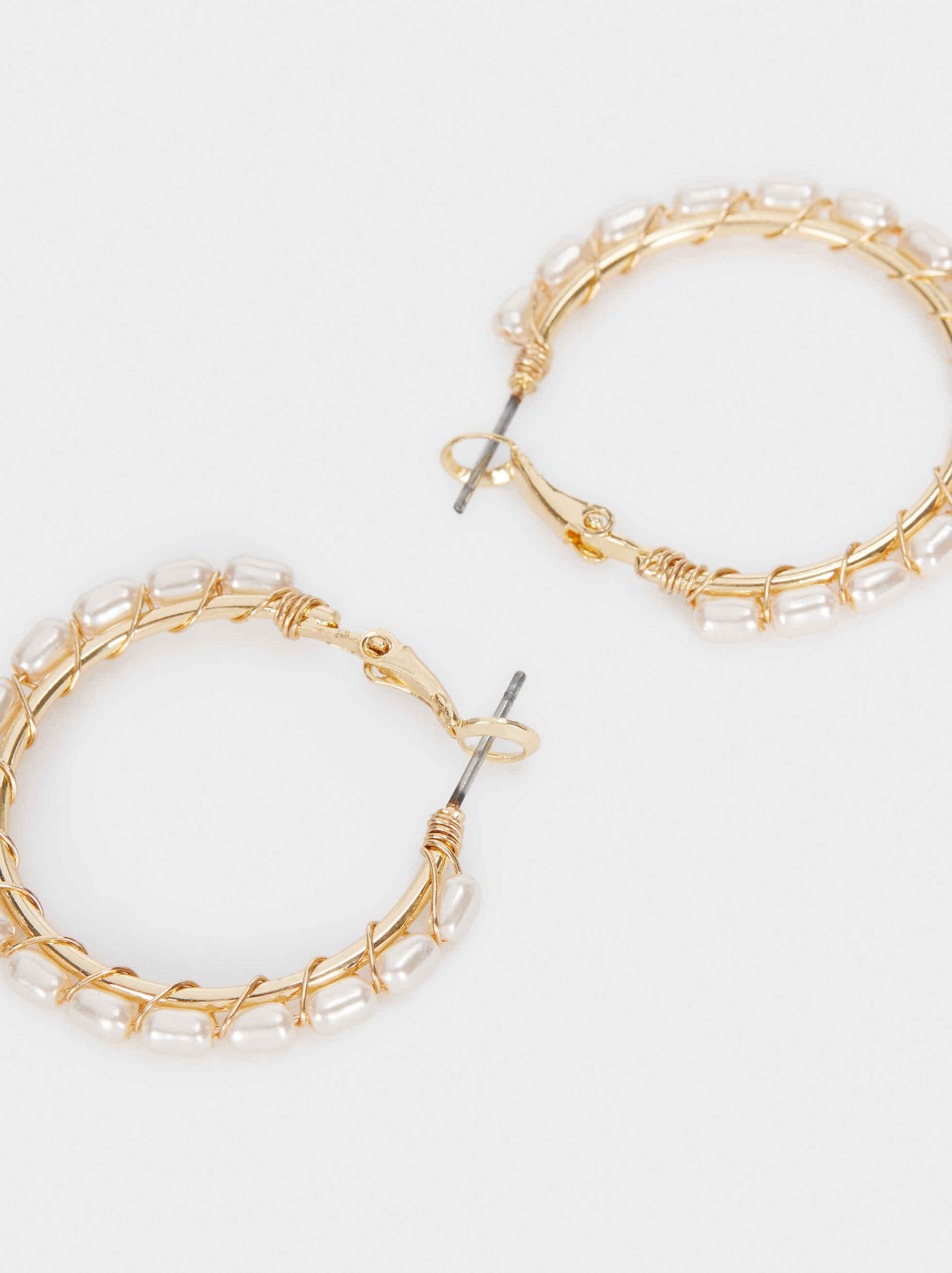 Medium Gold Hoop Earrings With Faux Pearl Detail, Golden, hi-res