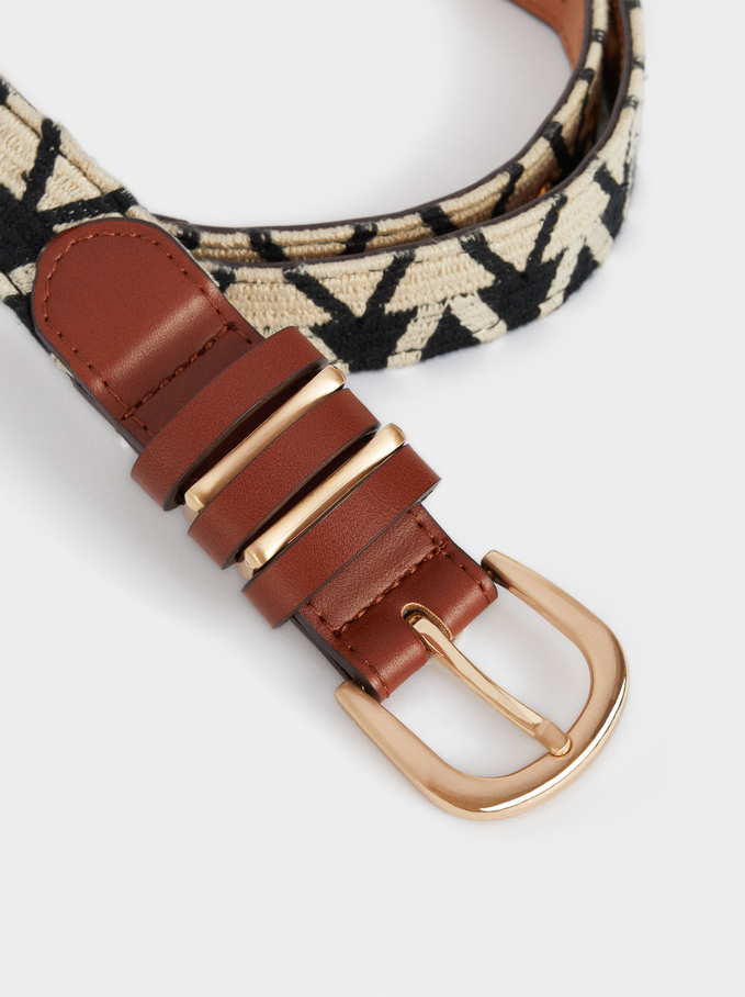 Printed Belt, Black, hi-res