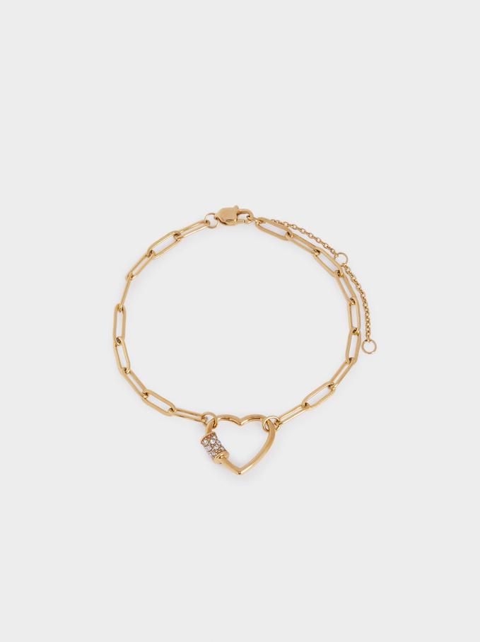 Bracelet En Acier Avec Cœur, Doré, hi-res