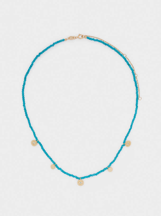 Short 925 Silver Necklace With Eye Pendants, Blue, hi-res