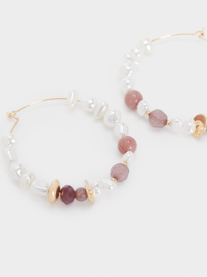 Long Hoop Earrings With Stone And Beads, Multicolor, hi-res