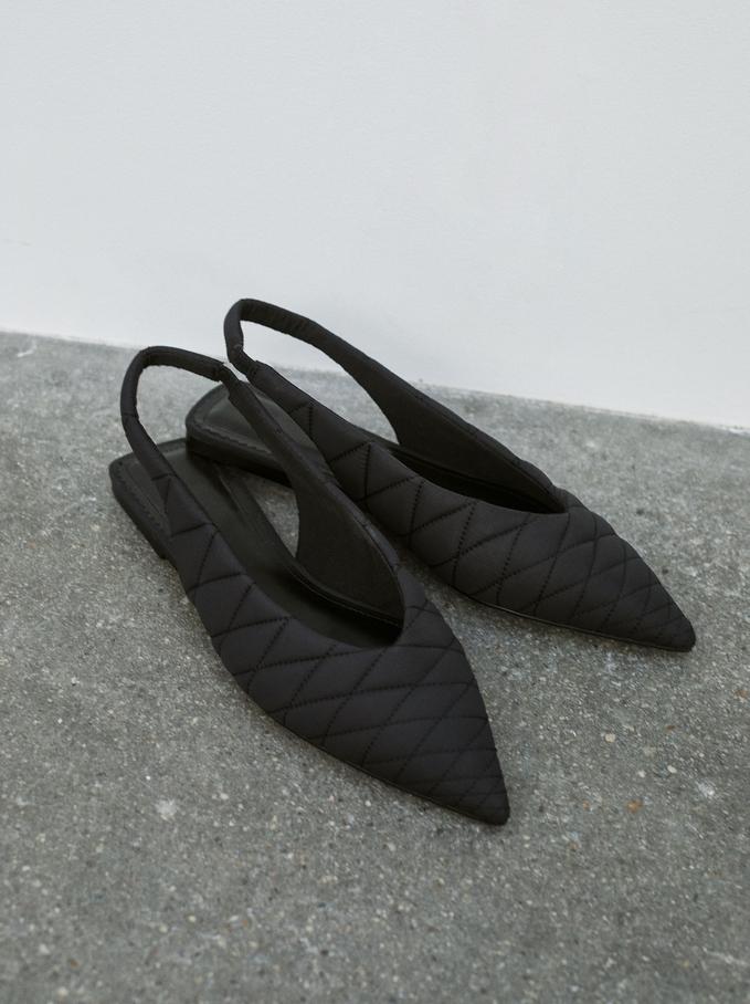 Quilted Slingback Ballet Flats, Black, hi-res
