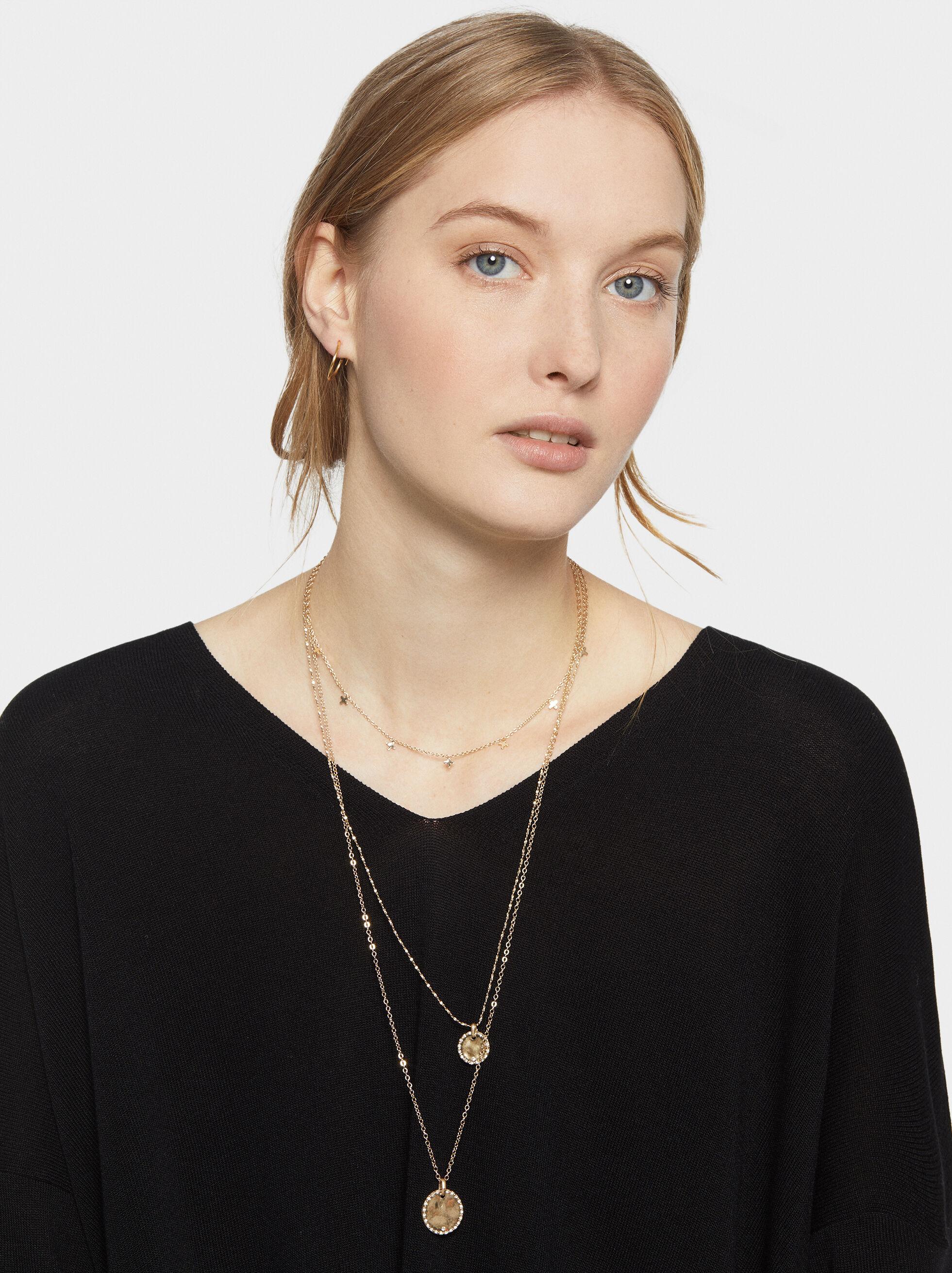 Pendant Necklace Set, Golden, hi-res