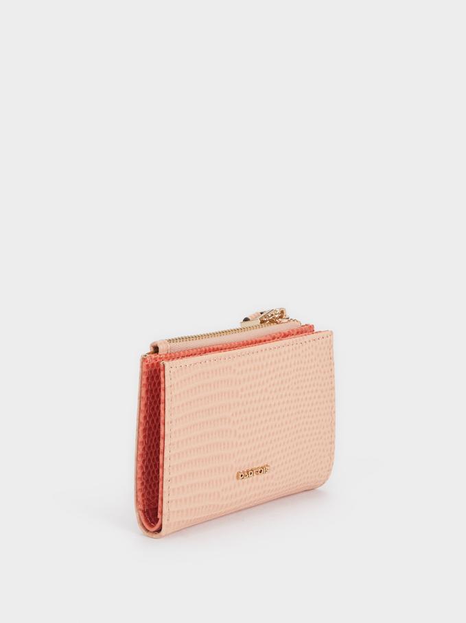 Portafoglio Compatto Con Porta Carte, Rosa, hi-res