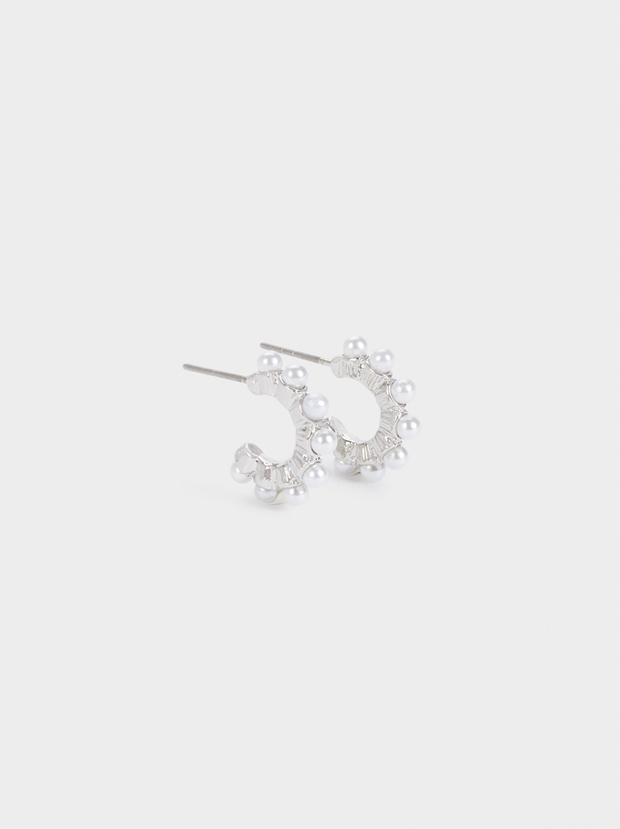 Small Hoop Earrings With Beads, White, hi-res