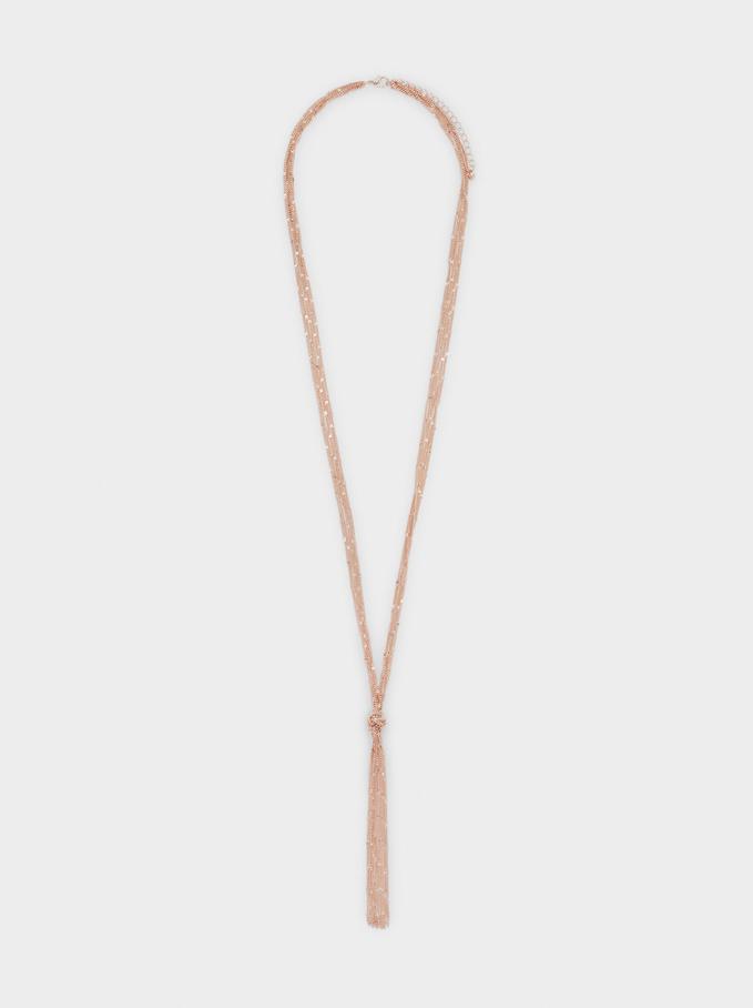 Long Knot Necklace, Orange, hi-res