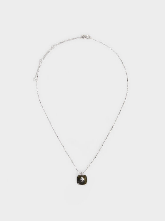 Short 925 Silver Shamrock Necklace, Grey, hi-res