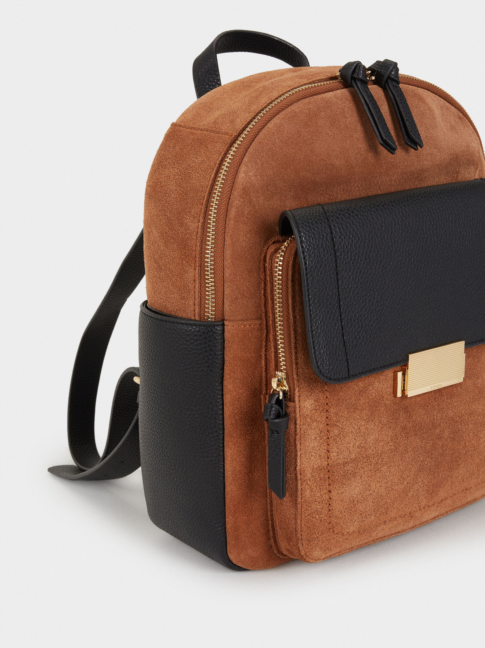 Suede Backpack, Camel, hi-res