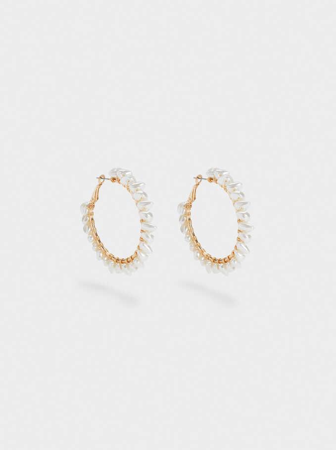 Large Hoop Earrings With Pearls, White, hi-res