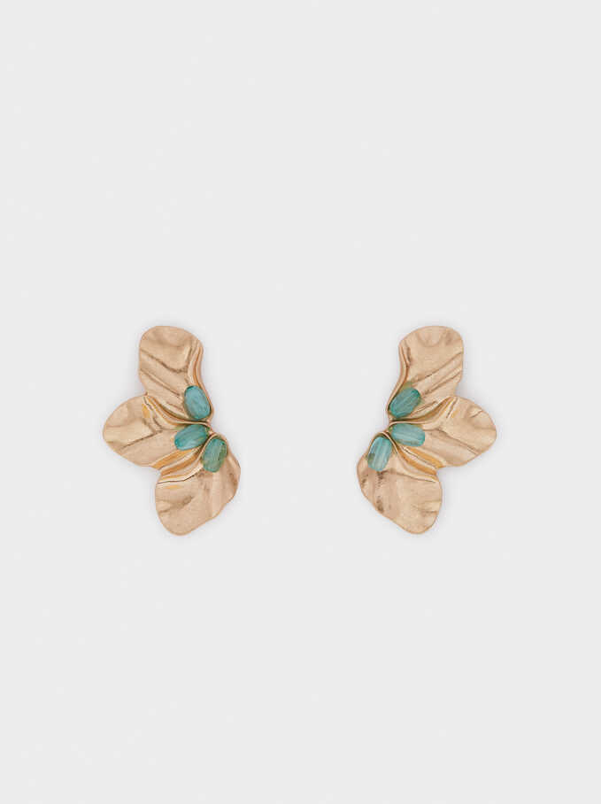 Sea Breeze Floral Medium Earrings, Grey, hi-res