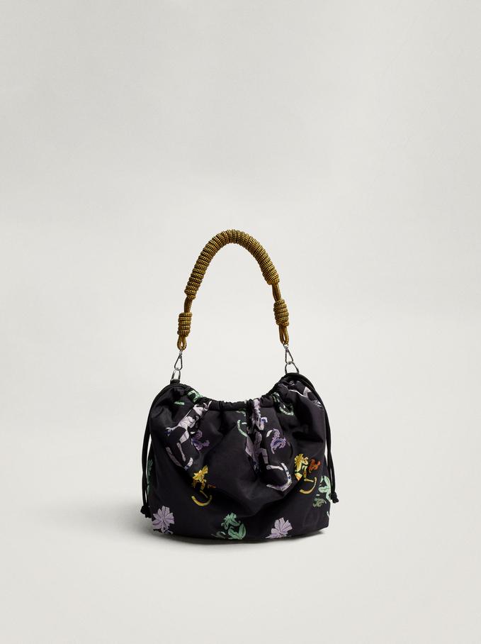 Nylon Flower Printed Shoulder Bag, Black, hi-res