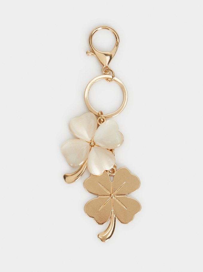 Clovers Keychain, Golden, hi-res