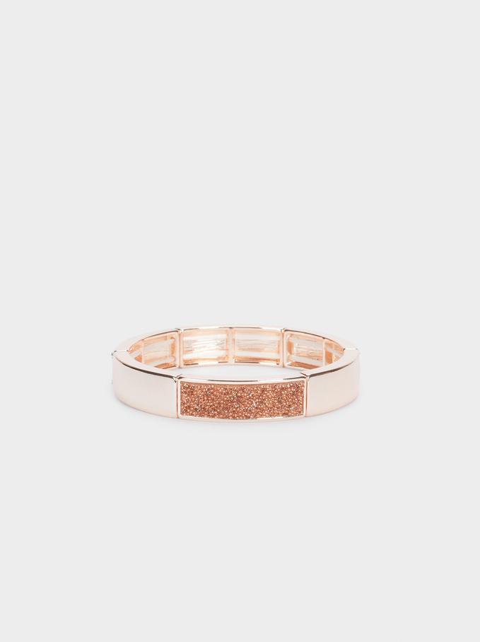 Rose Gold Elasticat Bracelet, Orange, hi-res
