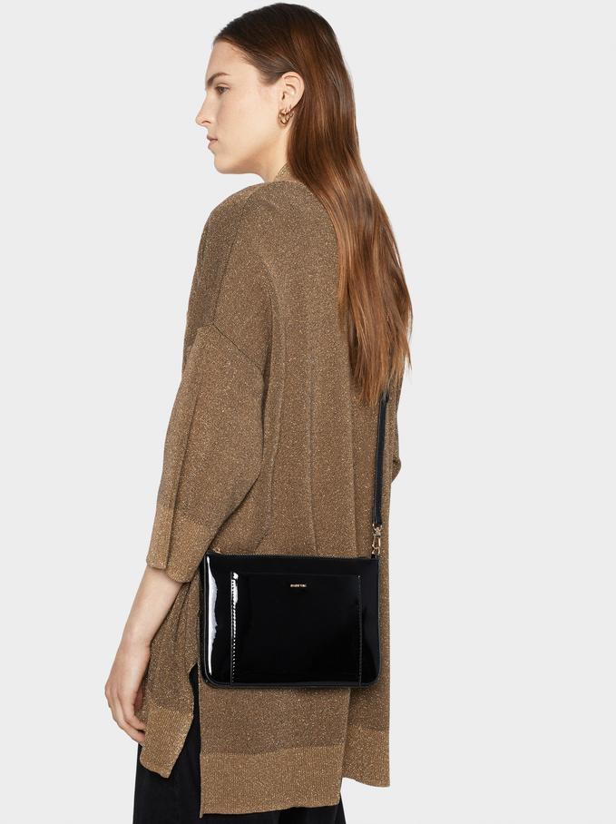 Glossy Crossbody Bag, Black, hi-res
