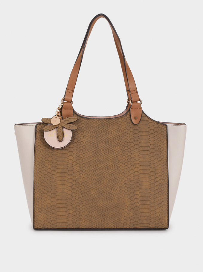 Animal Embossed Tote Bag, Khaki, hi-res