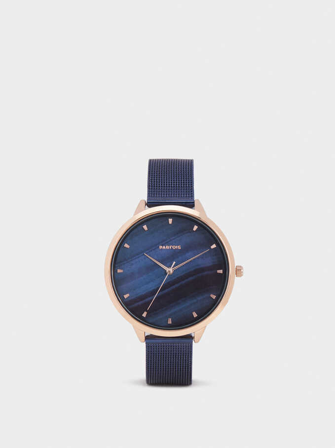 Watch With Milanese Strap, Blue, hi-res
