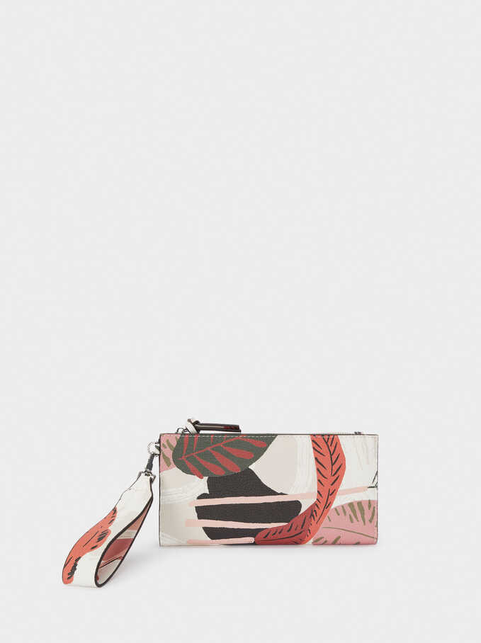 Long Leaf Printed Wallet, Ecru, hi-res