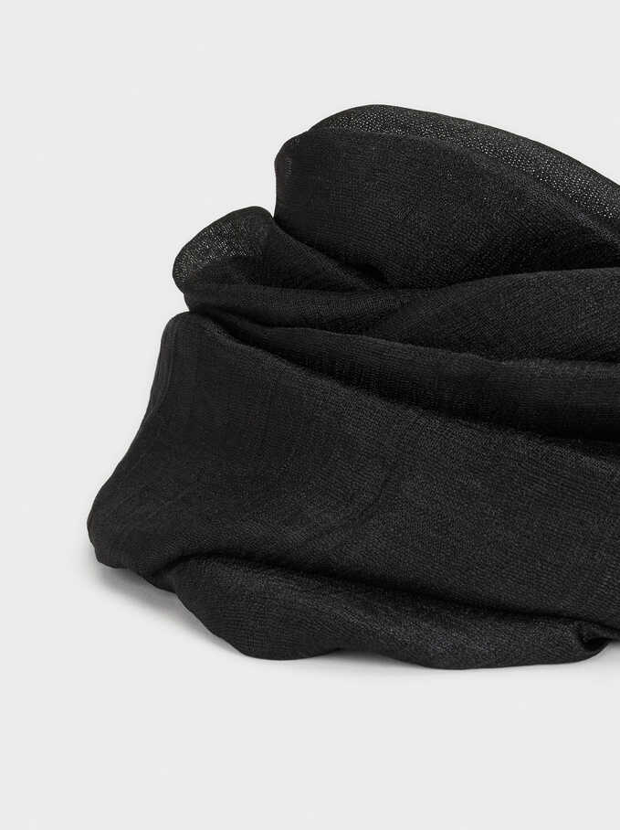 Satin Finish Pashmina, Black, hi-res