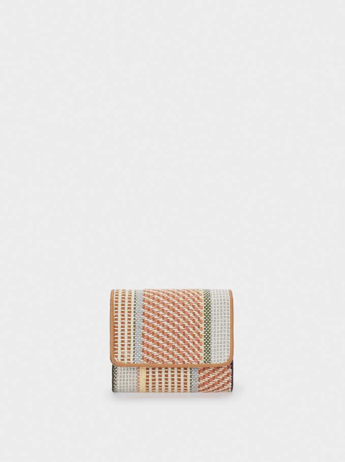 Compact Printed Fabric Purse, Pink, hi-res
