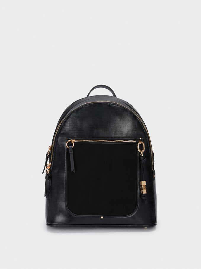 """Animal Embossed Backpack For 13"""" Laptop, Black, hi-res"""