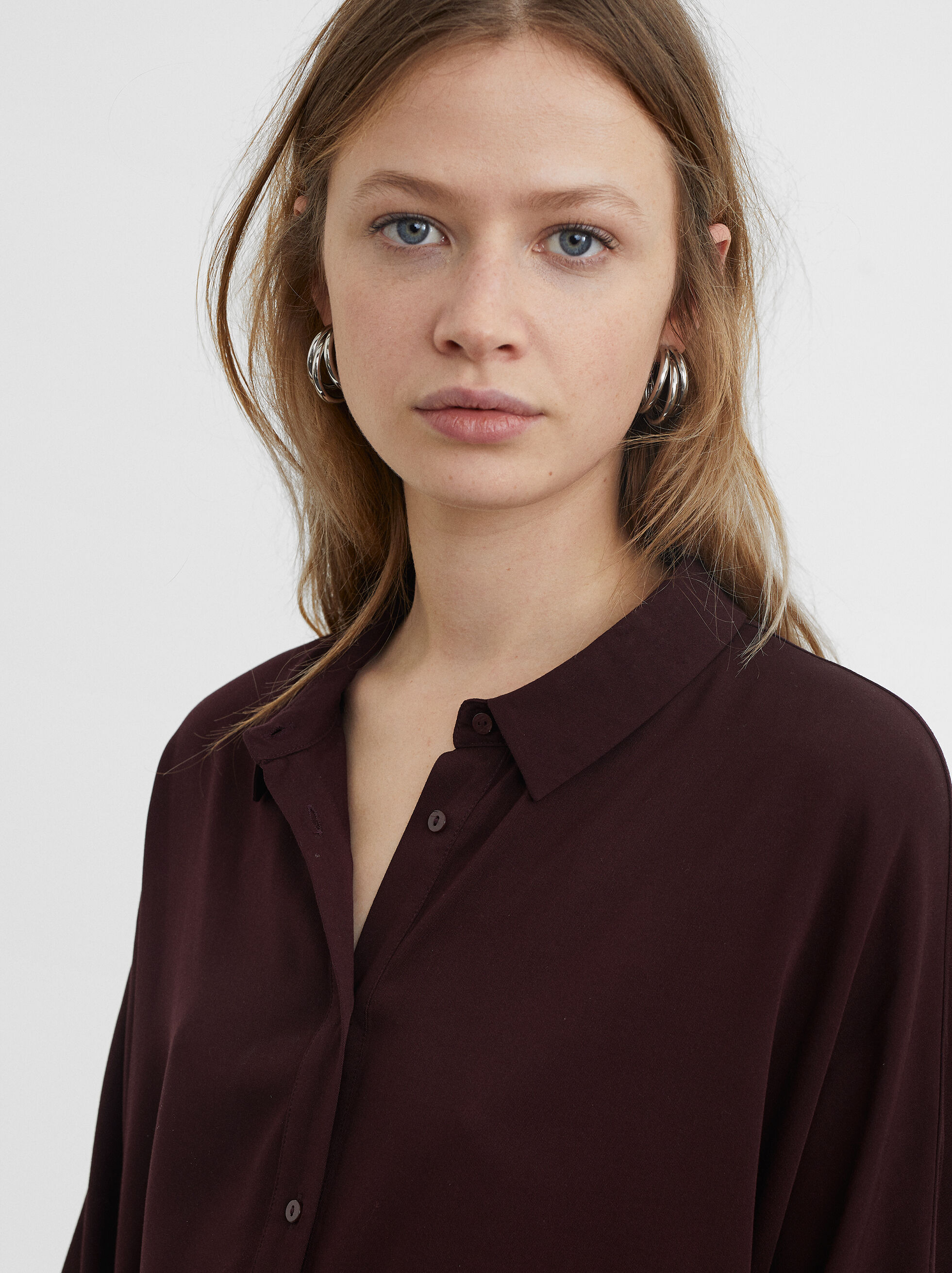 Plain Shirt, Bordeaux, hi-res