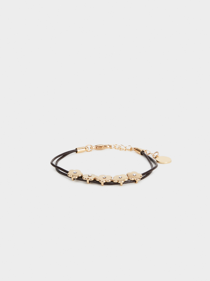 Floral Bracelet, Brown, hi-res