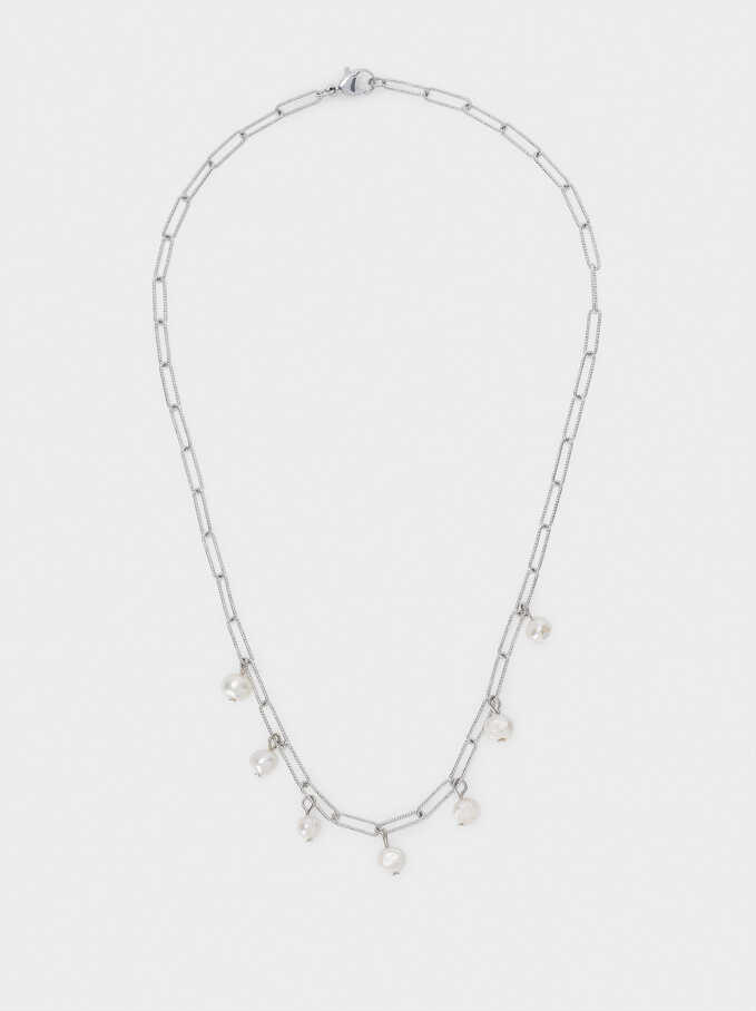Short Chain Necklace With Pearls, Silver, hi-res