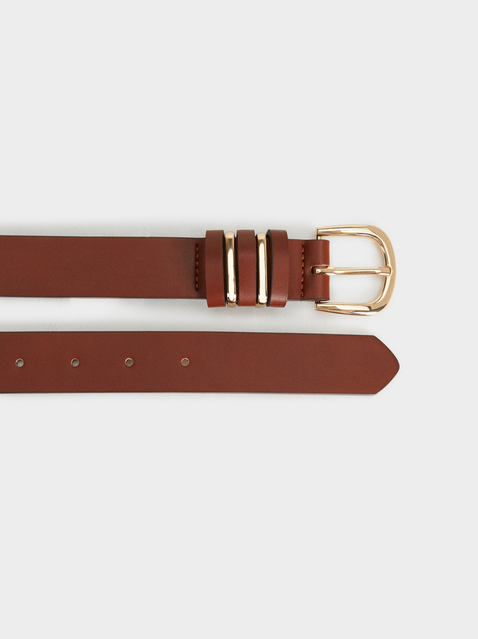 Plain Belt With Buckle, Brown, hi-res