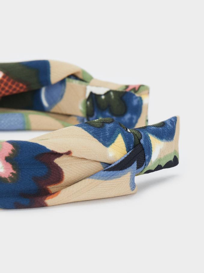 Bandeau Diadème Imprimée Multicolor, Multicolore, hi-res
