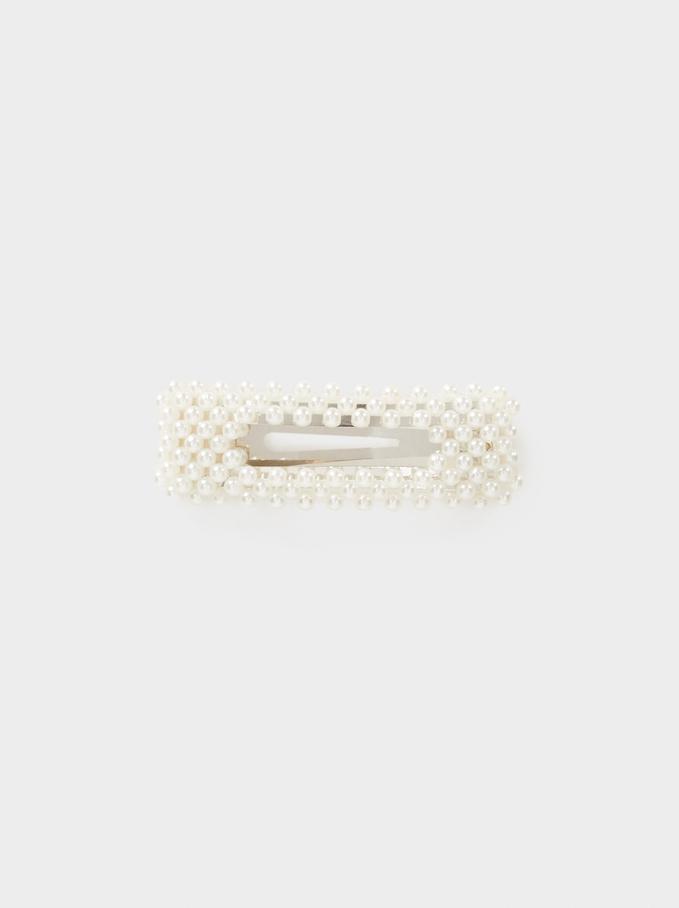Pearl Bead Hair Clip, White, hi-res