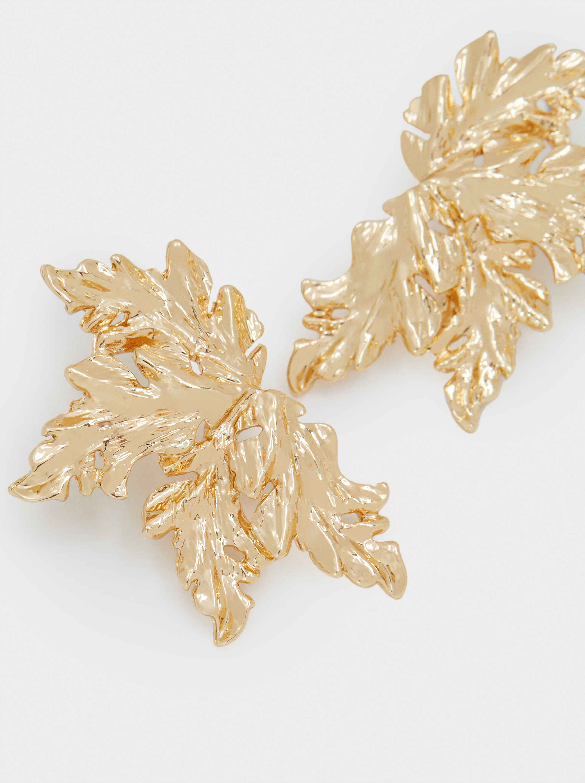 Short Gold Leaf Earrings, Golden, hi-res