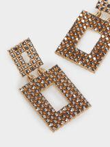 Medium Gold Earrings With Rhinestones, Golden, hi-res