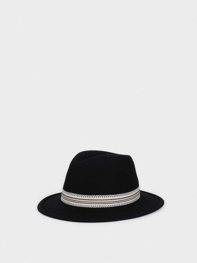Woollen Hat With Contrast Band, Black, hi-res