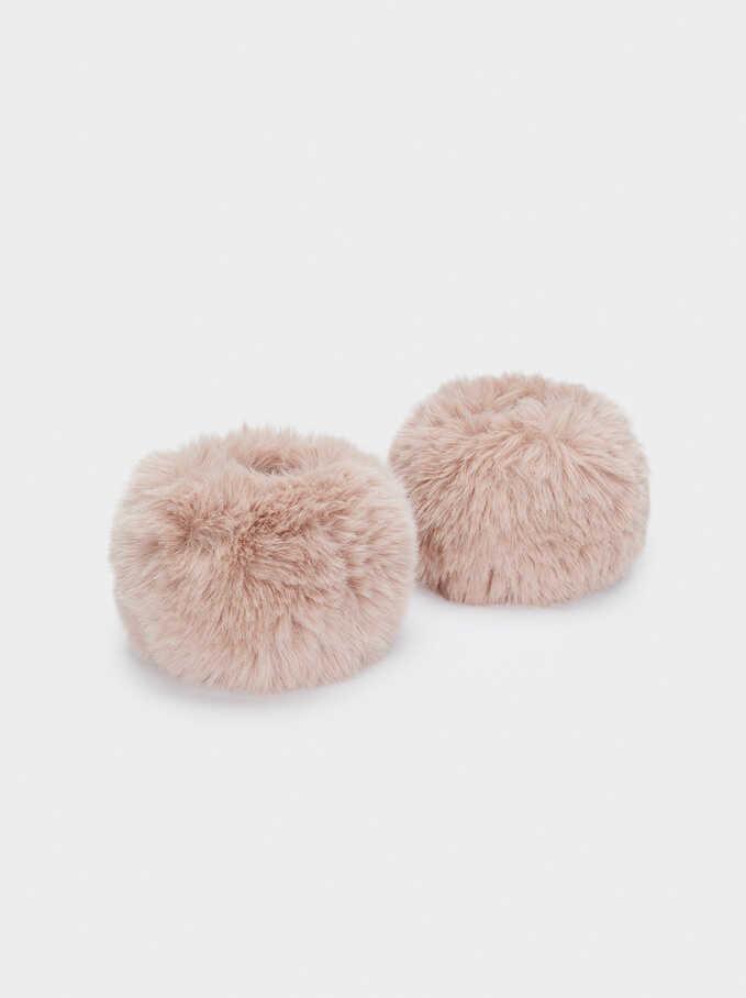 Faux Fur Cuffs, Pink, hi-res
