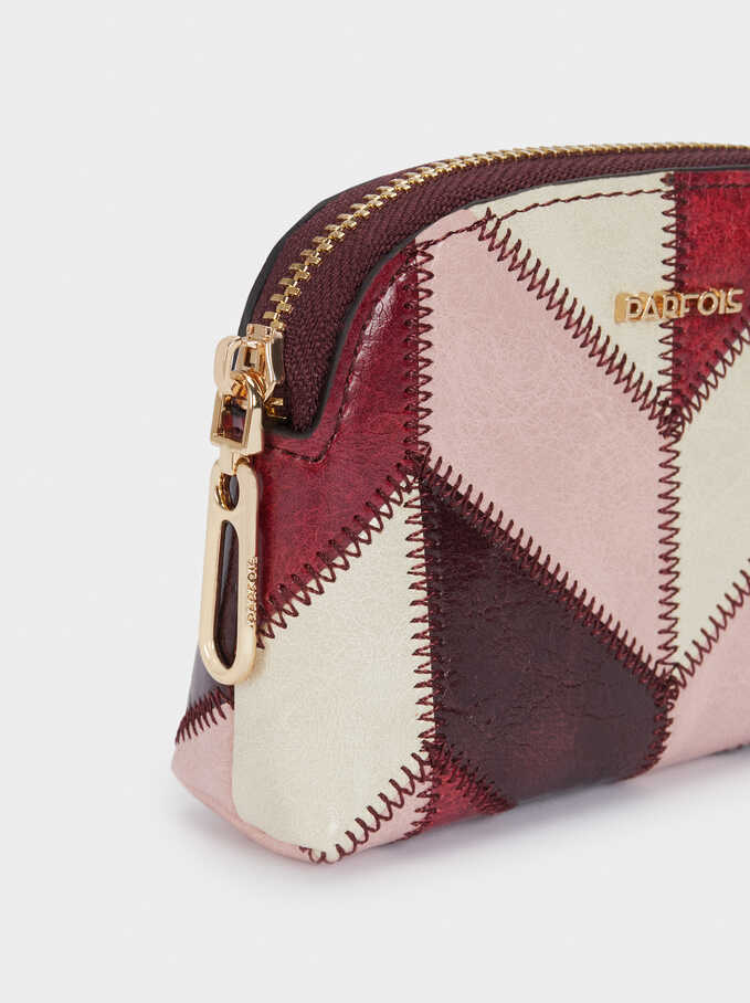 Patchwork Design Purse, Bordeaux, hi-res