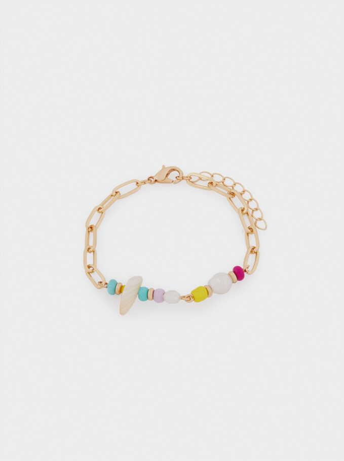 Adjustable Bracelet With Pearl, Multicolor, hi-res
