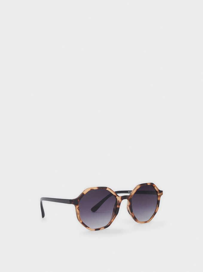 Squared Plastic Sunglasses, Brown, hi-res