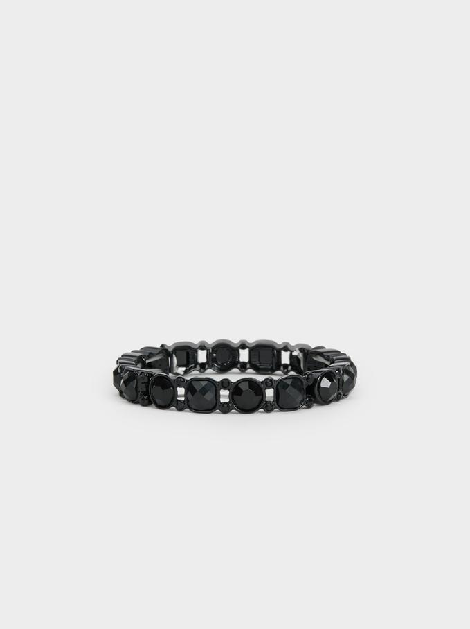 Star Dust Bejewelled Elastic Bracelet, Black, hi-res