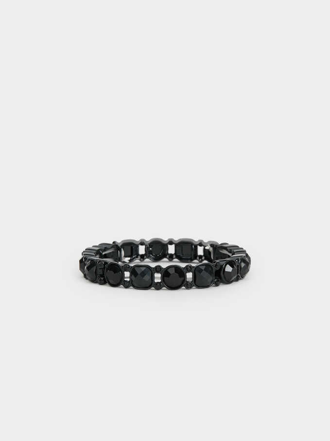 Star Dust Bejewelled Elastic Bracelet, Black, hi-res