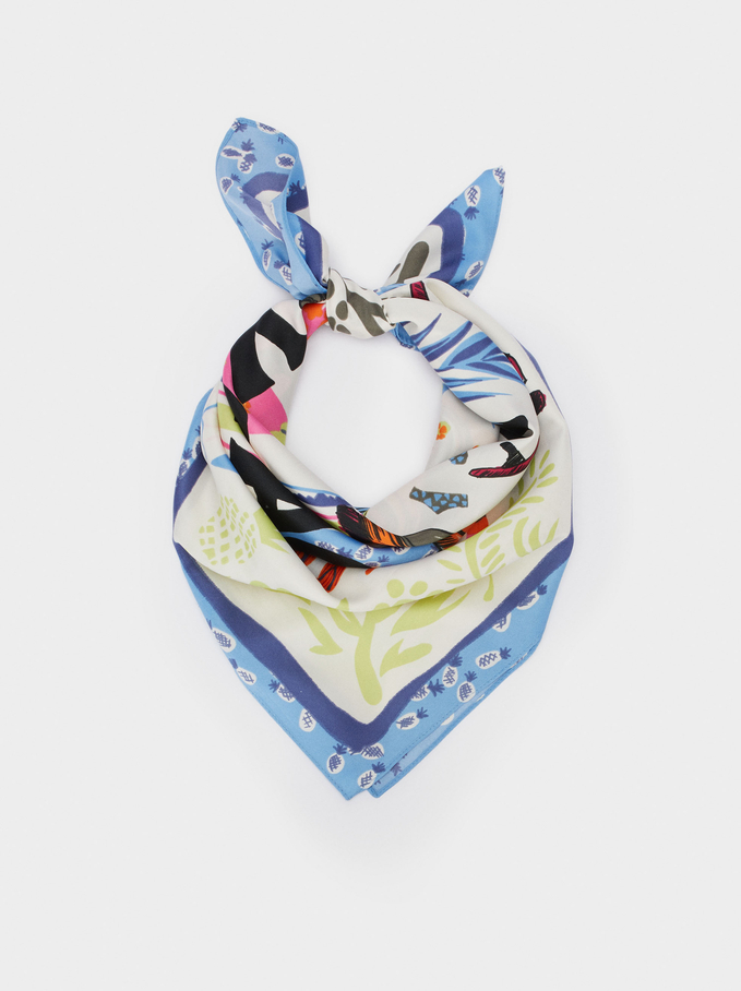 Printed Square Neckerchief Made From Recycled Materials, Blue, hi-res