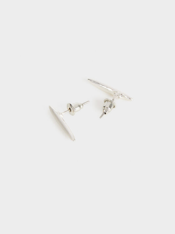 Basic Stud Earrings, Silver, hi-res