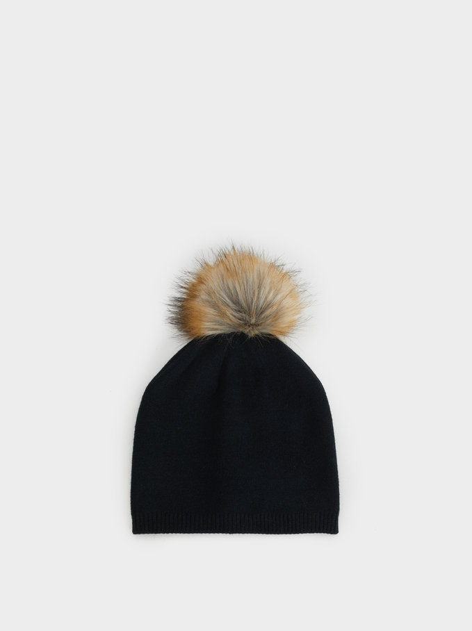 Hat With Pompom, Black, hi-res