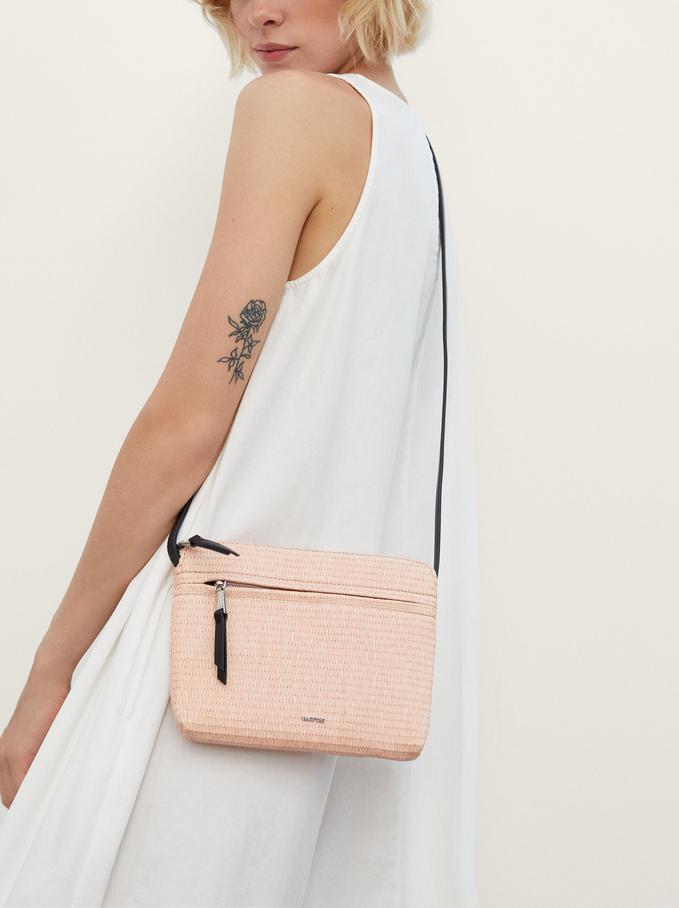 Woven Crossbody Bag, Pink, hi-res