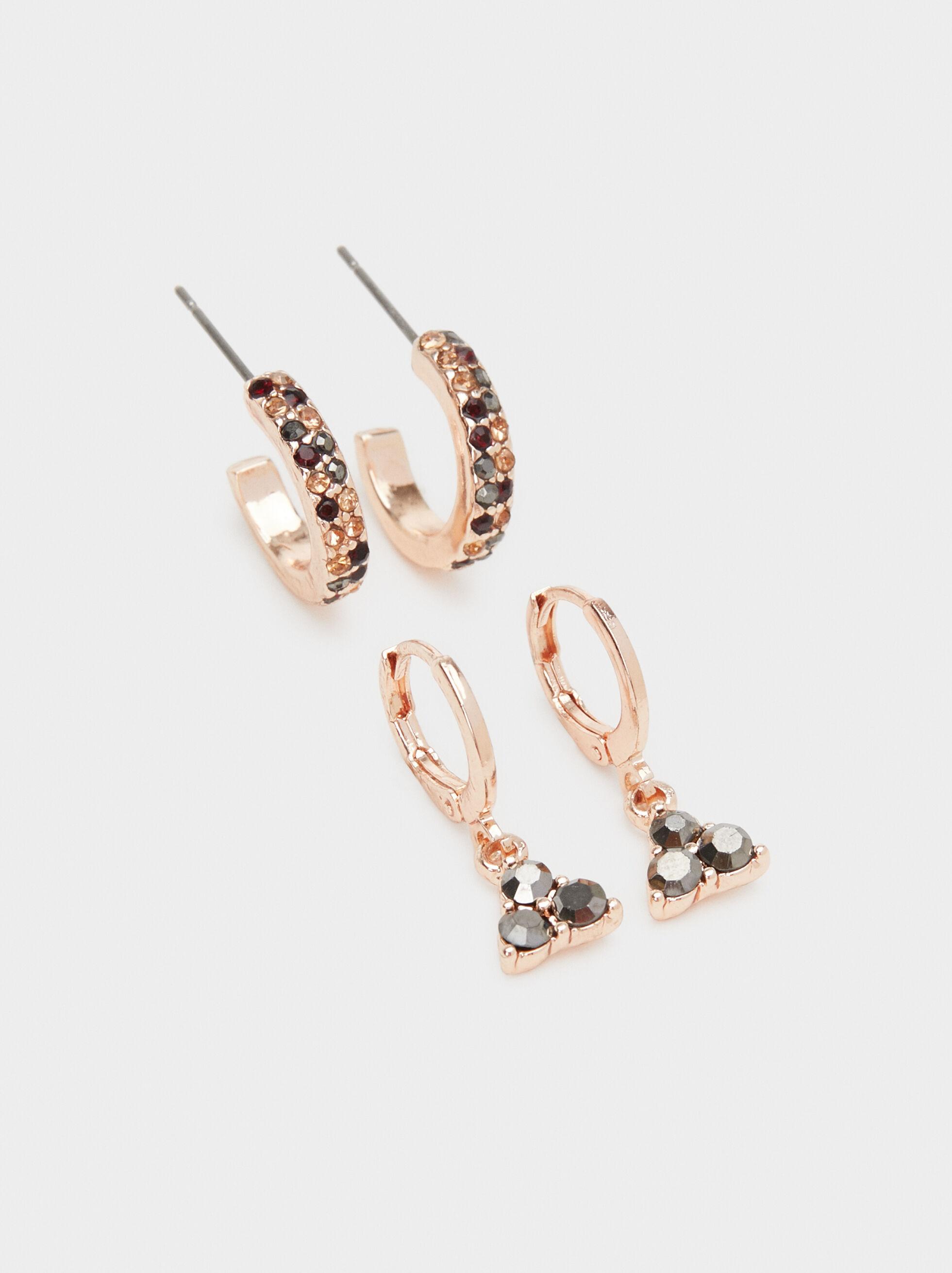 Rose Berry Set Of Hoop Earrings, Bordeaux, hi-res