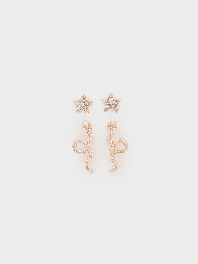 Set Of Star And Cobra Earrings, Orange, hi-res